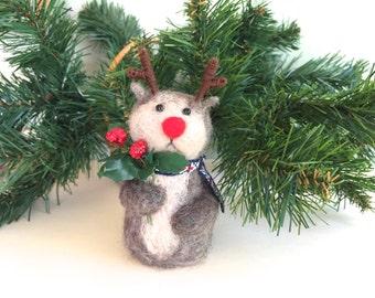 Rudolph Christmas reindeer ornament Rudolph Christmas ornaments red nose baby Rudolph wool fawn deer needle felting felted felt green cute