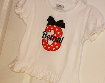 Baby Girls red and black Polka Dot Birthday Number Onesie Personalized with Name and Age