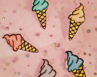 Ice Cream Magnets, Hand Made Magnets, Kitchen Decor, Fridge Magnets, Ice Creams, Magnets, Laminated Ice Creams, Kitchen Magnets