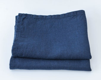 Navy Blue Linen Tea Towel Set of 2 - 62cmx42cm