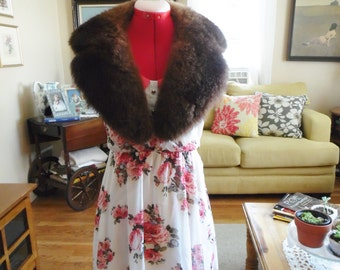 Antique Fur Collar Scarf Handmade Thick and Warm Perfect Accessory Hollywood Regency Style 1930's Coat Collar