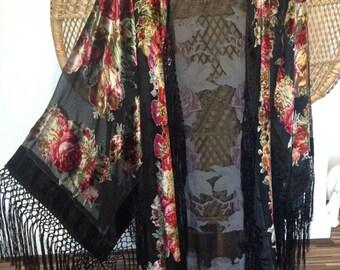 Kimono jacket,velvet jacket,fringe jacket,burnout jacket,devore jacket.gypsy jacket boho,velvet kimono,wearable art