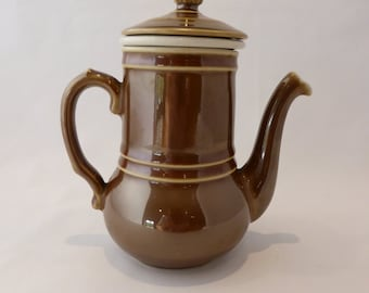 Infuser teapot in shiny brown - 1960/70s?