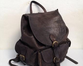Black 1990's Leather 3 Pocket Backpack