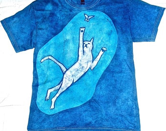 Batik T-shirt with Cat and Butterfly