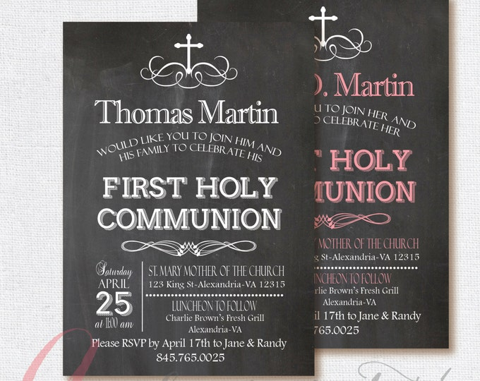 Chalkboard invitation. First Communion Invitation. First Holy Communion. Printable Party invitation. Chalkboard First Communion invitation.