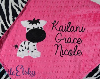 Personalized Baby Blanket, Minky Blanket, Personalized Name Blanket, Zebra Applique Blanket, ZebraBlanket, Choose colors, Choose your size.