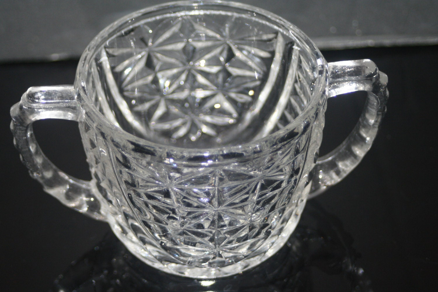 Vintage glass sugar bowl pressed