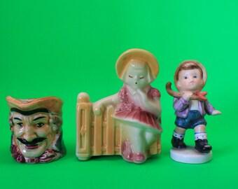 Figurine, Occupied Japan, Shawnee Pottery x3