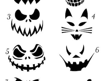 Jack O Lantern Scary Faces Vinyl Decal, Halloween Face Vinyl Decals, Pumpkin Vinyl Decal, Halloween Sticker, Door Hanger Decal, Car Decal