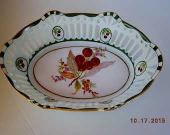 Fruit bowl or bread basket - oval openwork Porcelain hand painted Cherries