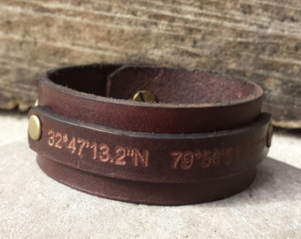 FREE SHIPPING- Personalized Men Leather Cuff,Gift For Him,Anniversary Bracelet,Mens GPS Bangle,Engrave Men Bracelet,Coordinates Leather Cuff