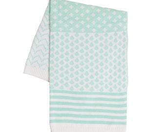 Baby Blanket Aquamarine & White