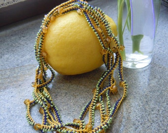 Necklace crochet cotton and beads handmade, also bracelet or belt.