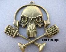 Antique Bronze Skull and Cross Bones Music Pendant / Charm, Skull Charm, Steampunk, Halloween, Music Pendant, Retro Charm, Epic Findings