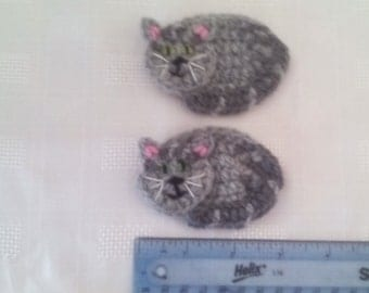Crochet cat motif, Crochet  motif, cat  motifs, set of 2 cat motifs, sewing supplies, appliques, ready to ship