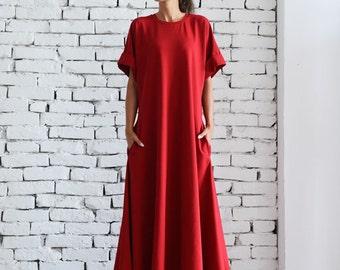Red Maxi Dress/Oversize Kaftan/Plus Size Maxi Dress/Red Oversize Tunic/Long Evening Dress/Short Sleeve Casual Dress/Loose Red Dress