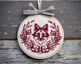 """Embroidered Fox with Laurel 4"""" or 5"""" Embroidery Hoop"""