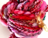 Art yarn spun hand People Pink Punch | bubble coil plied, chunky bulky, wool roving, wild sparkle locks purple cotton