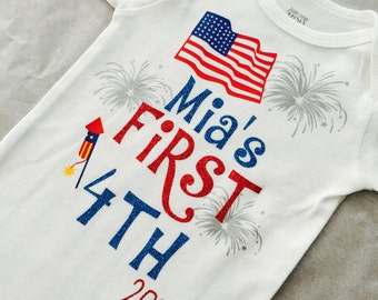 First Fourth of July. Fourth of July. Baby girl. Baby boy. Fourth of July baby outfit. Firecracker.