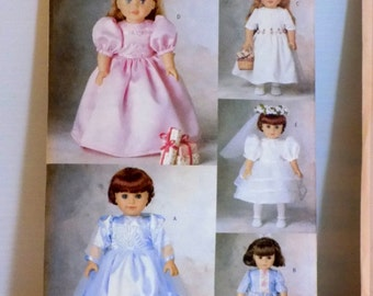 """5971 Butterick Pattern 18"""" doll party dresses American Girl dolls"""