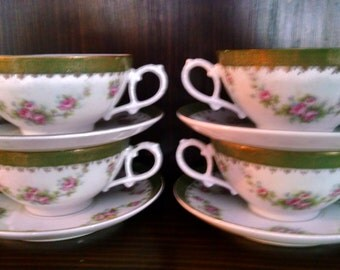 4 bone china cream soup bowls and liners