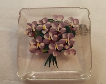 hand painted lilacs lucite brooch