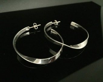 Silver Hoops with a Twist - 925 Sterling Silver - High Polished Finish - Medium Size - Post Backings