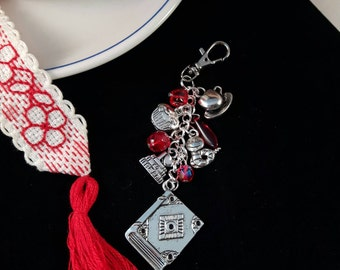 Reading, book lover, library librarian bag charm