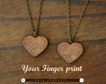 Personalized wooden Fingerprint heart Necklace/ Fingerprint heart Jewelry/wooden Custom finger print jewelry
