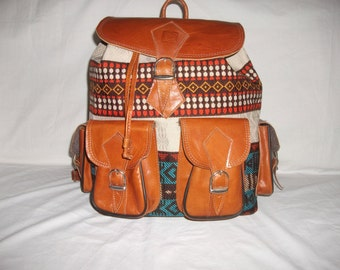 Backpack leather and Margoum - artisanal product of Tunisia