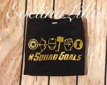 Superhero shirt, avengers shirt, squad goals shirt, gold shirt, super hero shirt, boys birthday shirt, superhero party shirt, hulk shirt