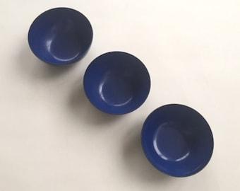 Three Great  Scandinavian Enamel Blue Bowls