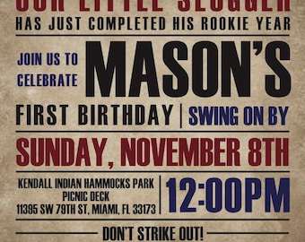 Vintage Baseball First Birthday Invitation