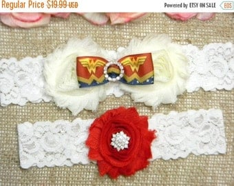 On Sale Wonder Woman Wedding Garter, Wonder Woman Garter Set, Bridal Garter, Keepsake and Toss Garter Set, Red and Ivory Lace Garter, Geeky