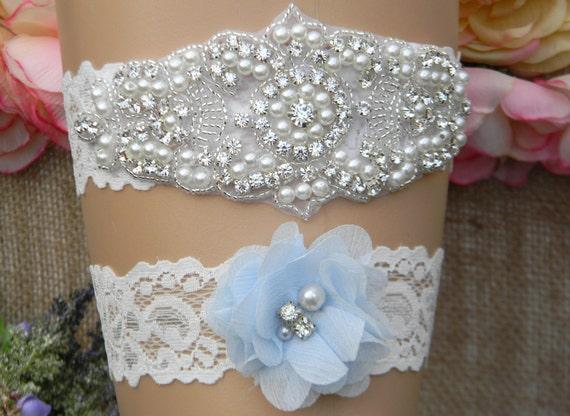 Wedding Garter, Wedding Garter Set, Bridal Garter, Light Blue Garter, Keepsake and Toss Garter Set, Pearl and Rhinestone Wedding Garter ELLE