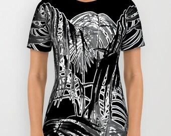 Black Palm T-Shirt Trees Tropical Nature Photo Black White Wearable Art/Tees/Shirt/Clothes/Women/Men/Teens/Plus Size/XS-S-M-L-XL-2XL