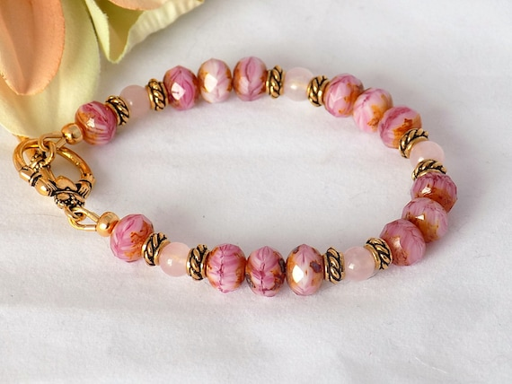 Rose Quartz Bracelet Bead Bracelet Women Glass Bead Bracelet Women's Jewelry Gemstone Bracelet Mother's Day Gift