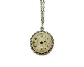 Watch Dial Necklace // Steampunk Jewelry // Steampunk Necklace // Watch Part Necklace // Silver Steampunk Necklace