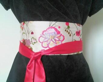 Embroidered silk OBI belt / reversible belt Red satin / silk corset / Japanese belt / belt fabric woman