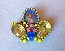 Vintage Sicilian Perfume ring,hand painted cabochon , vintage roses, blue pansies, mimosa yellow rhinestones