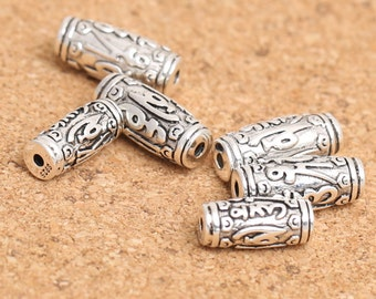 Sterling Silver Barrel Bead, Sterling Barrel Bead, Sterling Om mani padme hum Bead, 925 Silver Om mani padme hum Barrel Bead 13mm 15mm -E243
