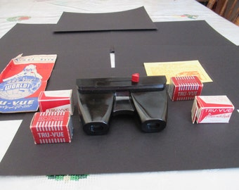 Vintage Tru-Vue View Master, Stereoscopic Photo Viewer, 1940's, bakelite, spools included, 3D photos