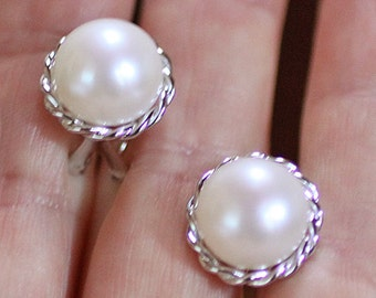 Smart Sterling White 11MM Freshwater Pearl Button Earrings with Rope Design, Omega Backs