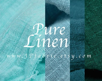 Pure linen fabric by the yard. Teal  fabric Turquoise linen. eco-friendly fabric
