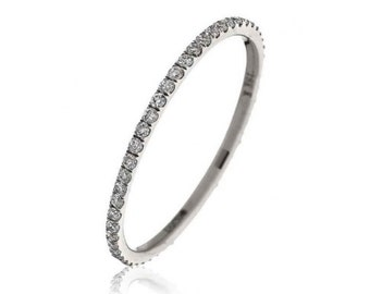 Full Eternity Diamond Ring 0.30ct 18K White Gold 1.3mm