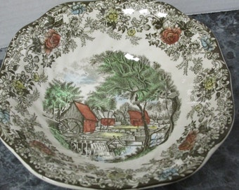 Mill Stream by Johnson Bros Vintage Porcelain Bowl England Genuine Hand Engraving