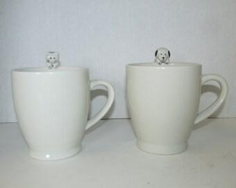 Vintage Set of 2 Dog Cat Mugs Coffee Cups Mug