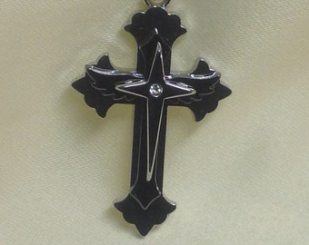 Men's Cross Pendant Necklace , silver ,  gift , birthday , friend , family , god , faith