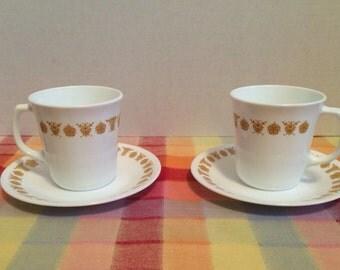 Corning Corelle Butterfly Gold Pattern Coffee Cups 2